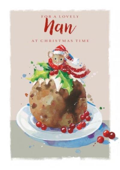 Traditional Lovely Nan Christmas Pudding Christmas Card