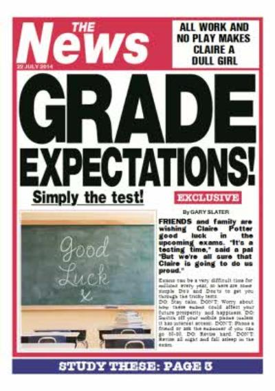The News Grade Expectations Good Luck On Your Exams Personalised Card