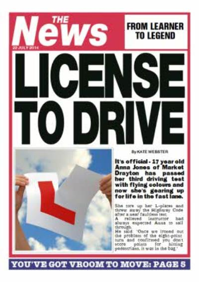 Personalised Driving Test Card