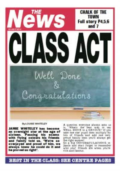 Class Act Newspaper Headline Personalised Congratulations Card