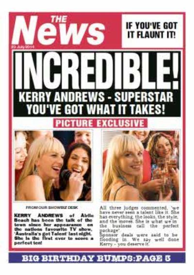 Incredible Newspaper Headline Personalised Birthday Card