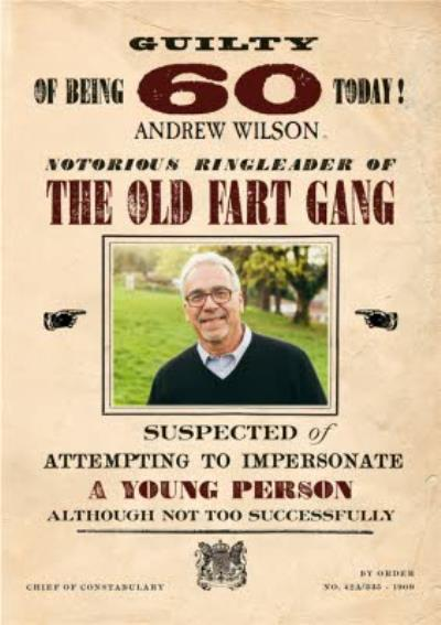 Funny retro wanted poster 60 today personalised photo upload birthday card