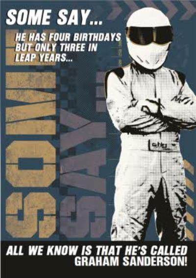 Top Gear The Stig Some Say Personalised Birthday Card