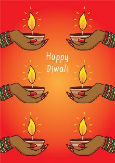 Happy Diwali Hands and Candles Card