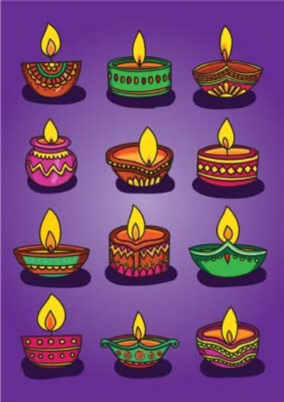 Happy Diwali Diya Candles Card
