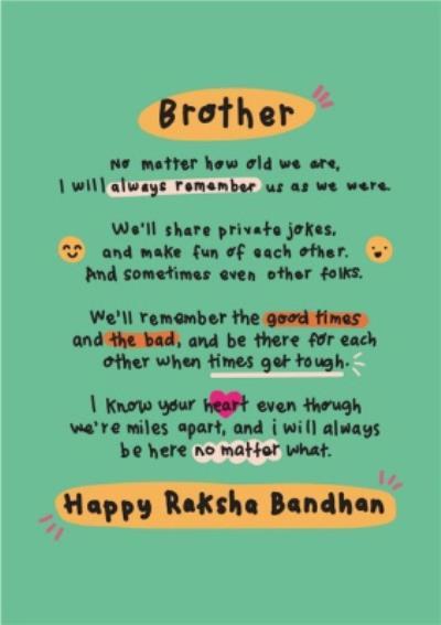 Brother No Matter How Old We Are Raksha Bandhan Card