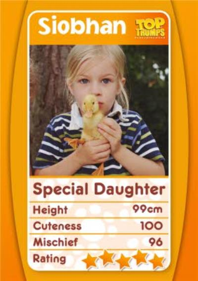 Top Trumps Special Daughter Photo Upload Birthday Card