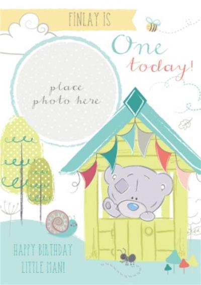 Tiny Tatty Teddy In Hut Personalised Photo Upload Happy 1st Birthday Card