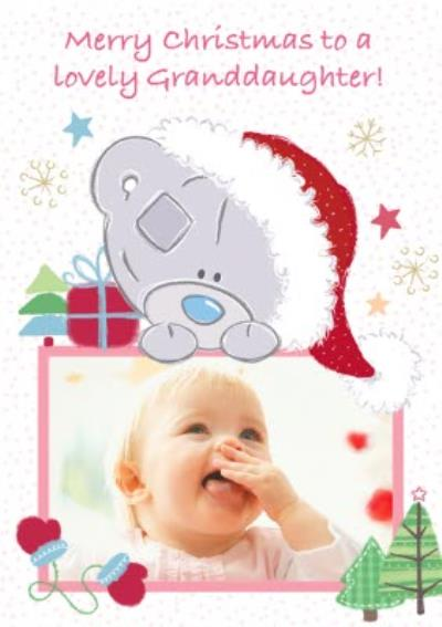 Tatty Teddy To A Lovely Granddaughter Personalised Photo Upload Christmas Card