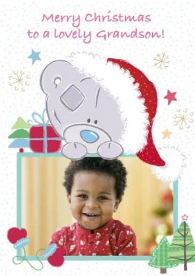 Tatty Teddy Festive Frame Personalised Photo Upload Merry Christmas Card For Grandson