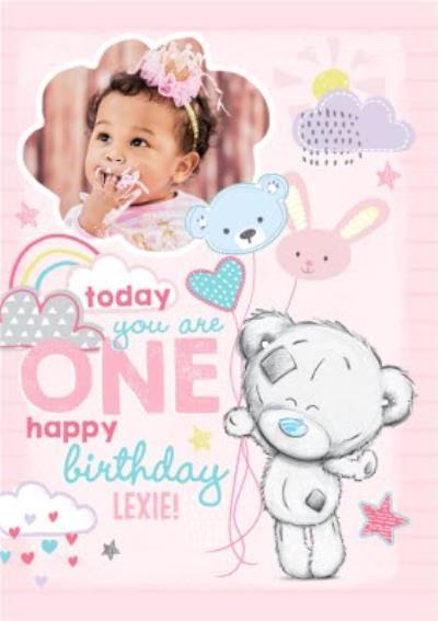 Me To You Tatty Teddy 1St Birthday Pink Photo Upload Card