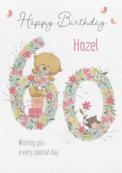 Cute Uddle Floral 60th Birthday Card