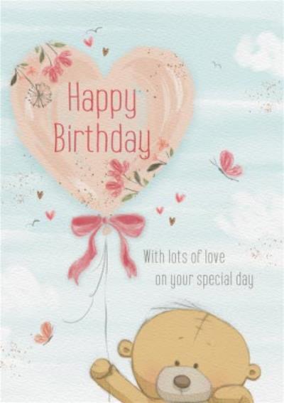 Cute Uddle Heart Balloon Birthday Card