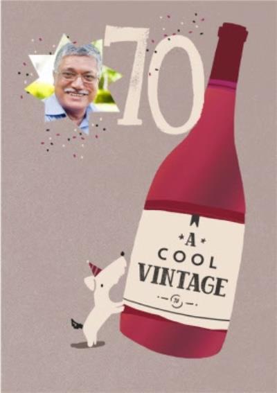 Personalised Photo Illustrated Wine Bottle Dog 70th Birthday Card