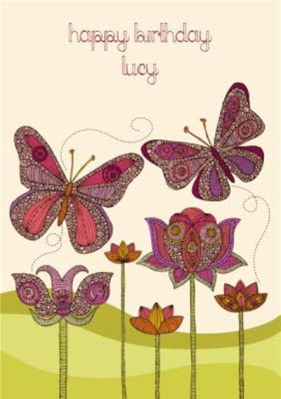 Purple Flowers And Butterflies Personalised Birthday Card