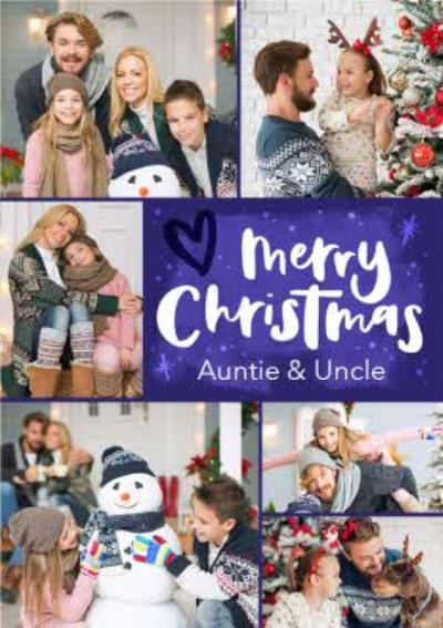 Hand-lettered photo upload Auntie and Uncle Christmas card
