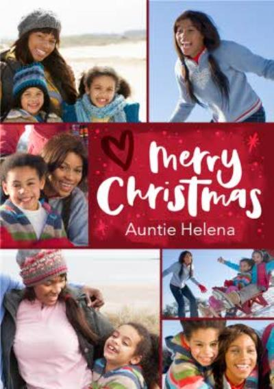 Hand-lettered photo upload Auntie Christmas card