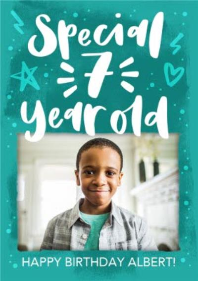Modern Typographic Special 7 Year Old Photo Upload Birthday Card