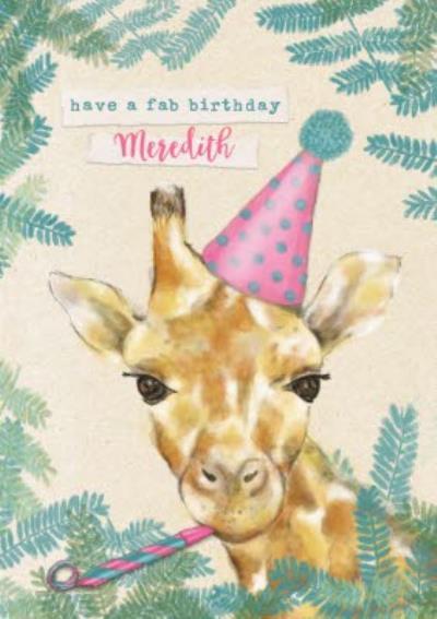 Party Hat Giraffe Birthday Card