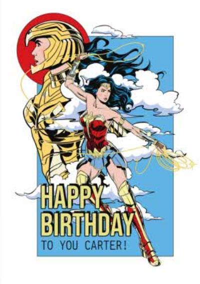 Wonder Woman 1984 Superhero In Clouds Happy Birthday Card