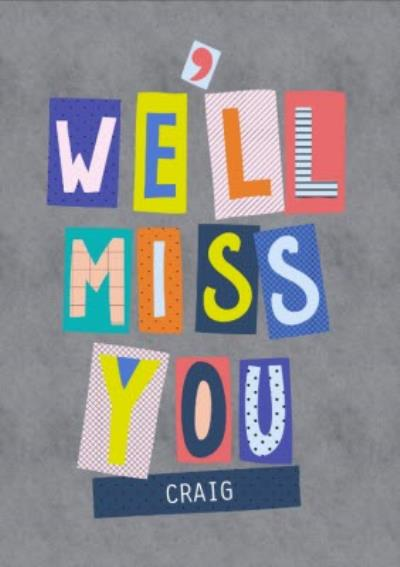 Word Up Personalised Well Miss You Card