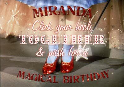 The Wizard Of Oz Red Glitter Heels Magical Birthday Card