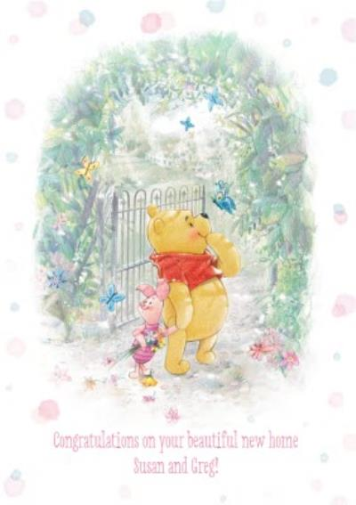 Disney Winnie The Pooh And Piglet At The Garden Gate Personalised New Home Card