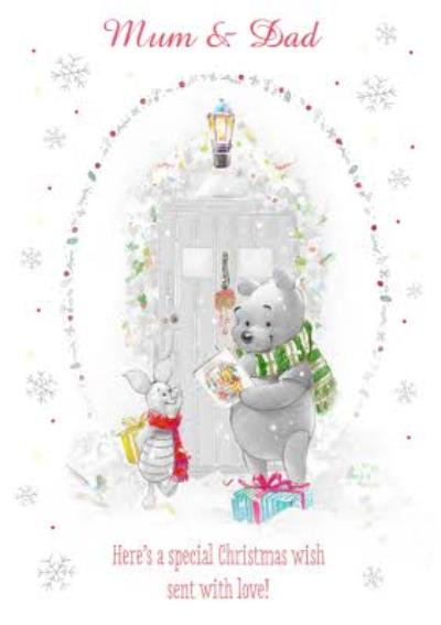 Disney Winnie The Pooh Black And White Special Christmas Personalised Card