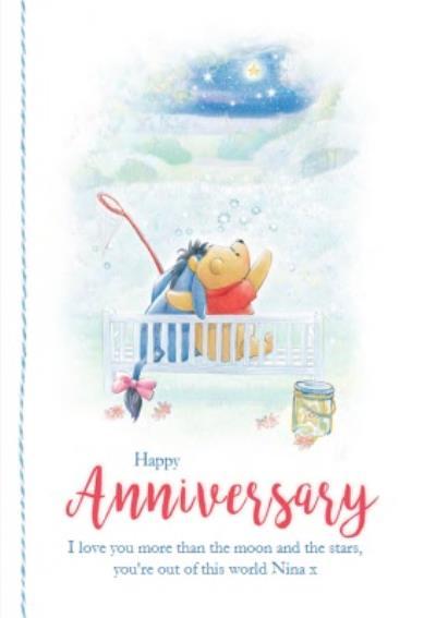 Disney Winnie The Pooh Moon And Stars Happy Anniversary Card