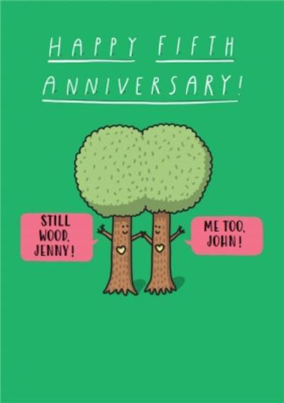 Humorous cartoon Happy fifth Anniversary card