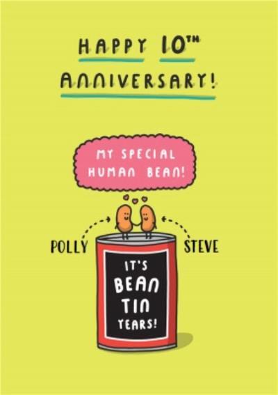 Humorous cartoon Happy 10th Anniversary card - tin anniversary - baked beans