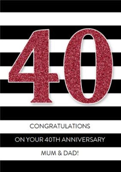 Black And White Stripe Personalised Happy 40th Anniversary Card
