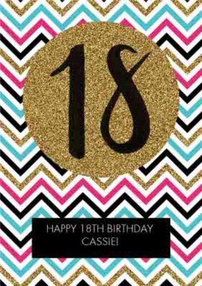 Multicoloured Zig Zag Personalised Happy 18th Birthday Card