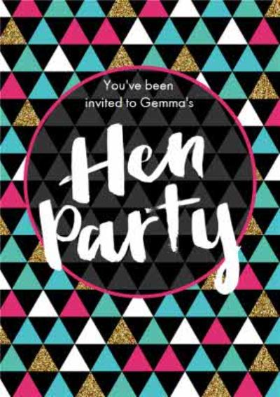 Geometric Patterned Personalised Hen Party Invitation Card