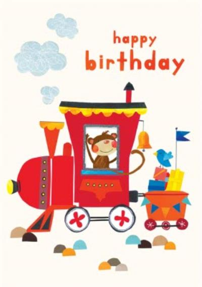 Happy Birthday Monkey Train Card