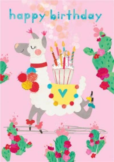Llama and Cupcake Illustration Happy Birthday Card