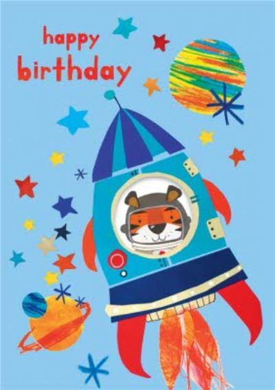 Tiger In Rocket Illustration Happy Birthday Card