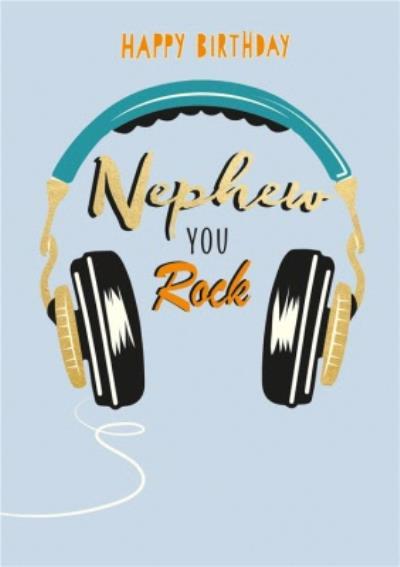 Nephew You Rock Headphones Birthday Card
