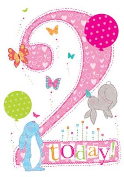 2 Today Cute Rabbits and Balloons Birthday Card