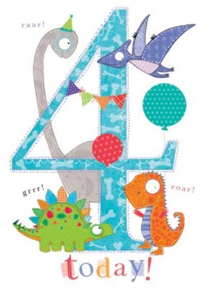 4 Today Cute Dinosaurs Birthday Card