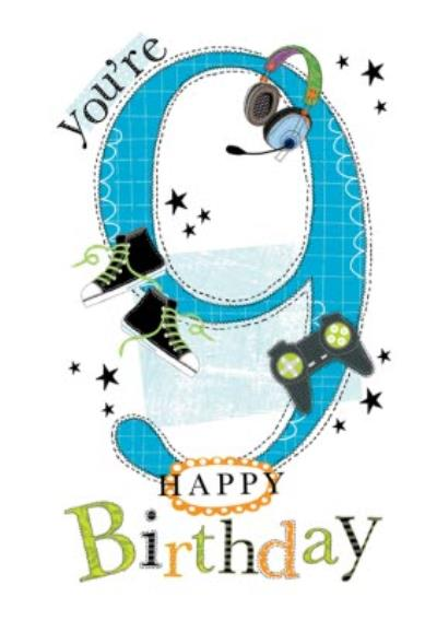 Typographic You're 9 Happy Birthday Card