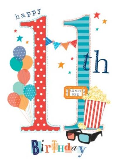 Typographic Movies Happy 11th Birthday Card