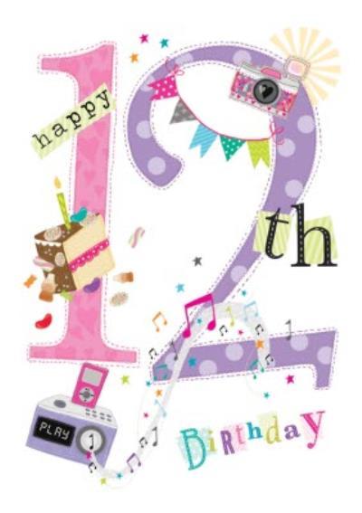Typographic Happy 12th Birthday Card