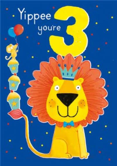 Yippee You're 3 Lion and Mouse Birthday Card