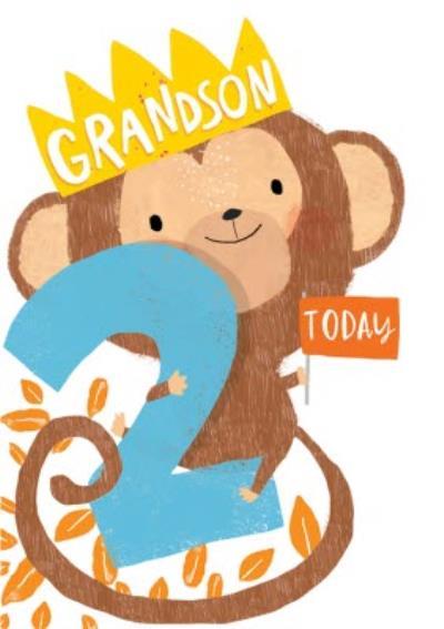 Grandson 2 Today Monkey Birthday Card