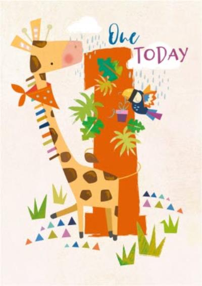 Cute One Today Giraffe Birthday Card