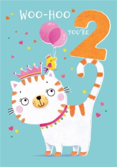 Woo Hoo You're 2 Cute Cat Birthday Card