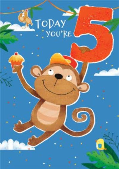 Today You're 5 Cute Monkey Birthday Card