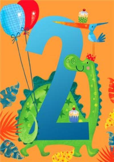 Cute Dinosaur 2nd Birthday Card