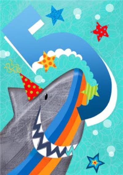 Cute Stripy Shark 5th Birthday Card